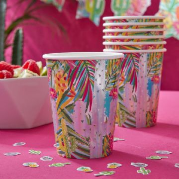 Tropical Hot Summer Paper Cups - Pack of 8